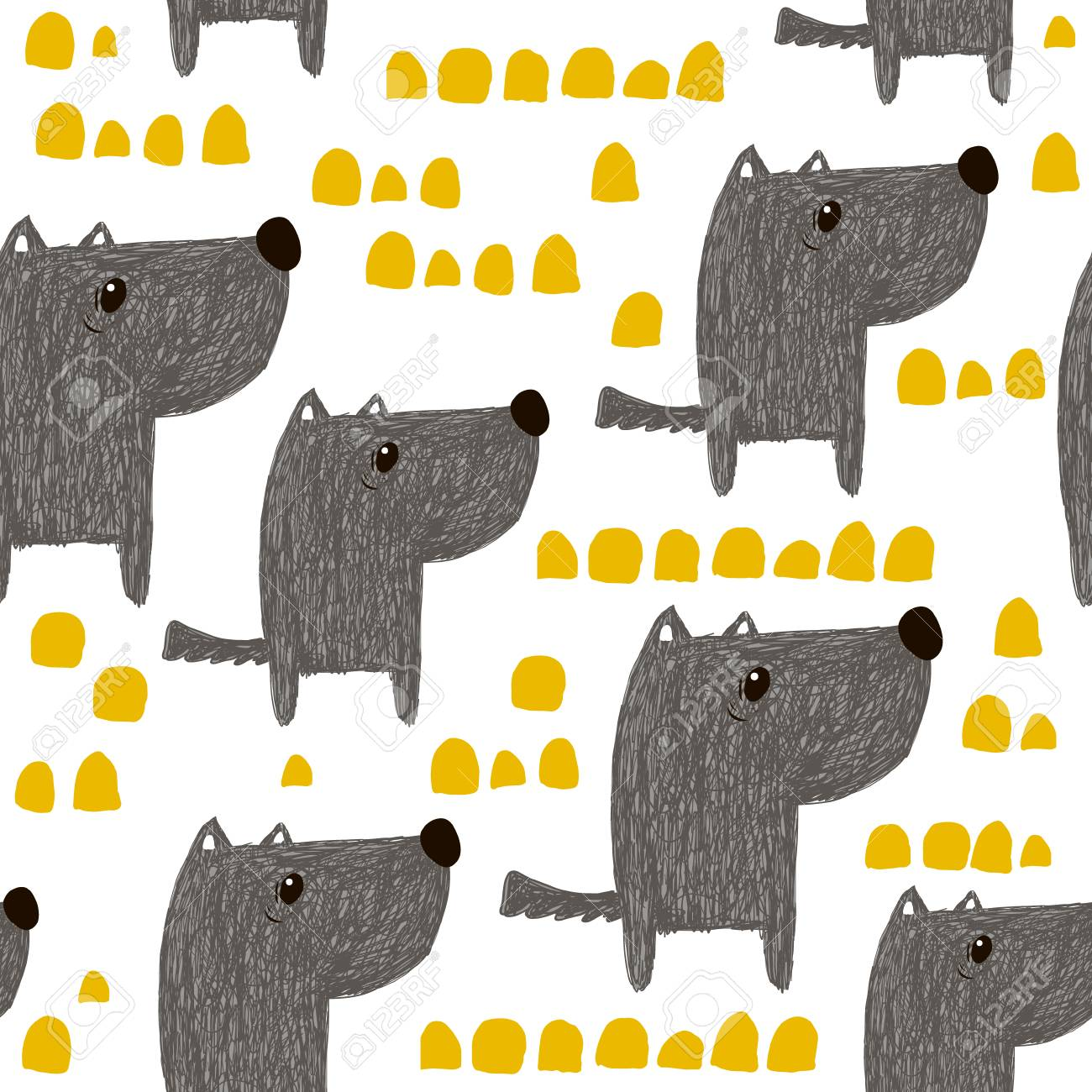 Seamless pattern with hand drawn cute dogs. Creative childish background. Perfect for kids apparel,fabric, textile, nursery decoration,wrapping paper.Vector Illustration - 94135251