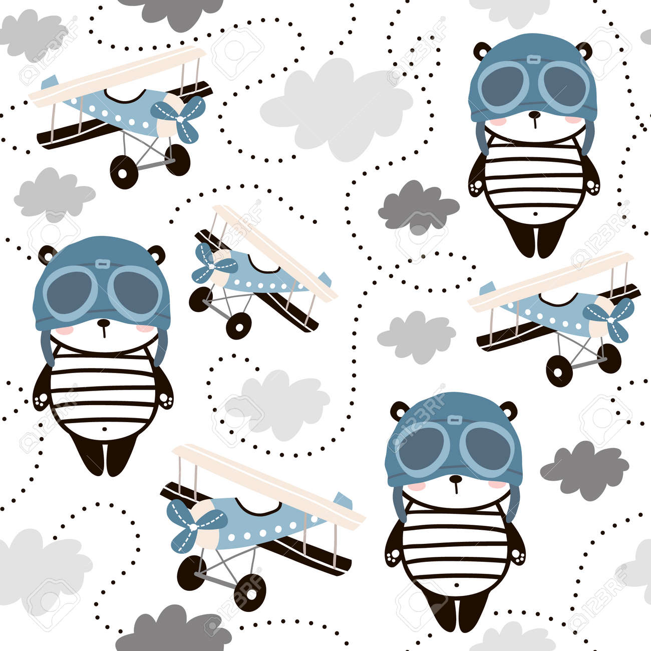 Seamless pattern with cute panda in pilot cap and retro air planes. Creative childish texture for fabric, wrapping, textile, wallpaper, apparel. Vector illustration. - 99070072