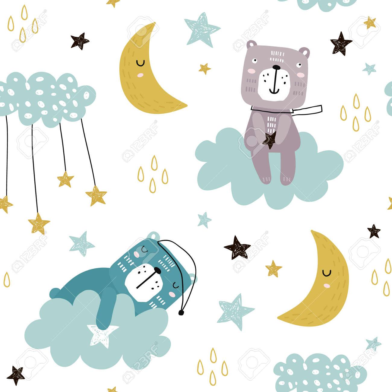 Sin Fisuras Patron Infantil Con Lindos Osos En Las Nubes La Luna