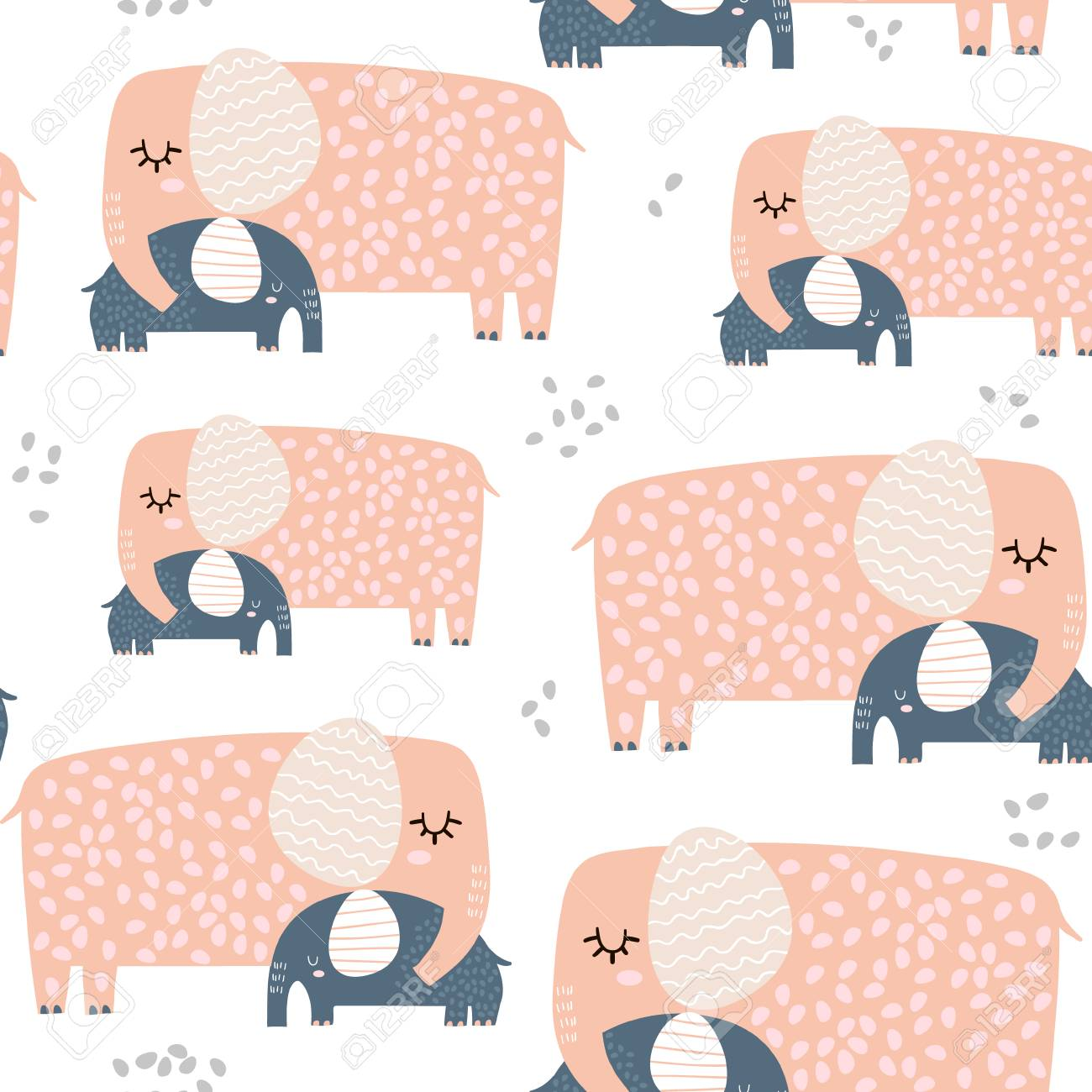 seamless pattern with cute mom and baby elephant creative childish