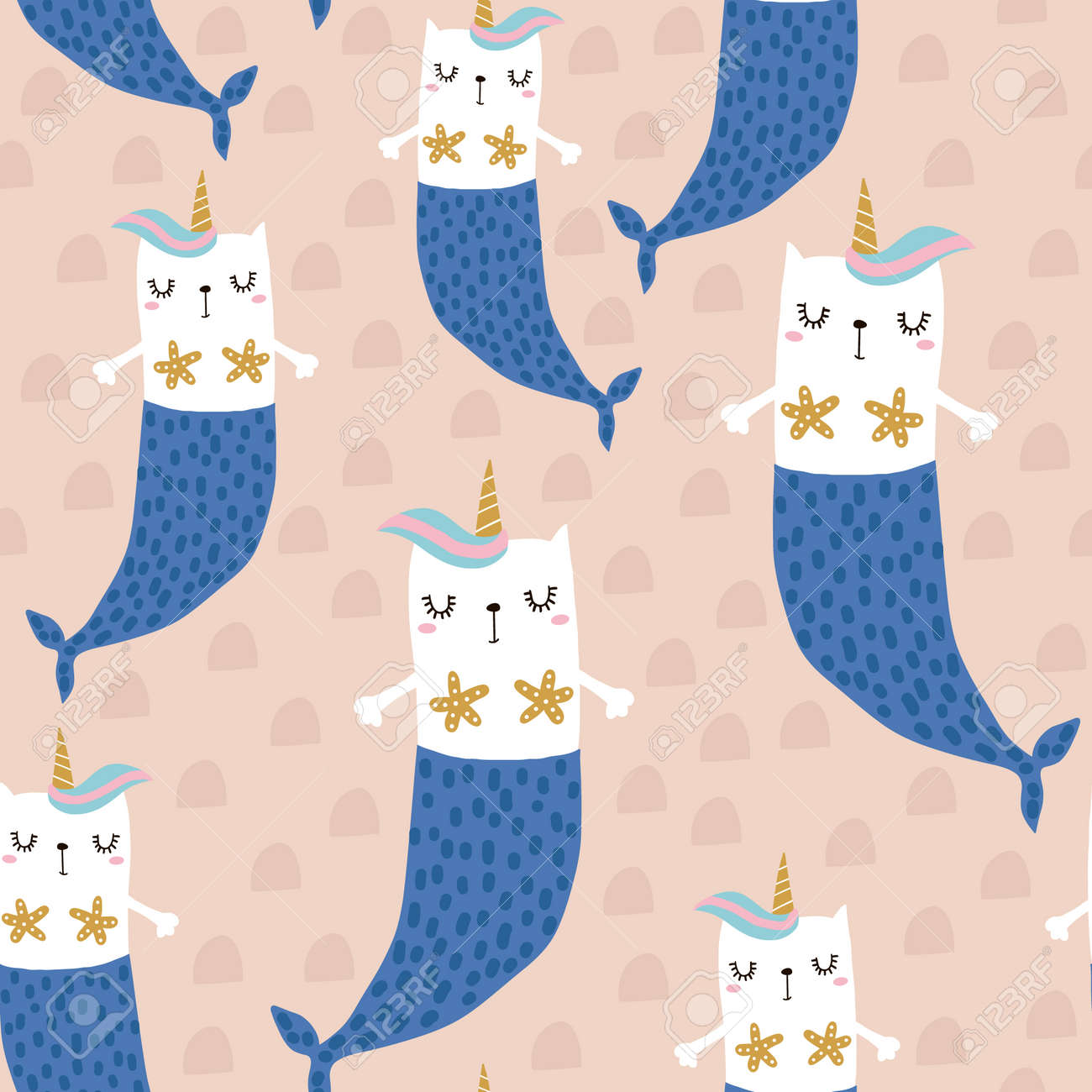 Magic cat mermaid with horn. Seamless childish pattern for apparel, fabric, textile.Vector illustration - 104442487