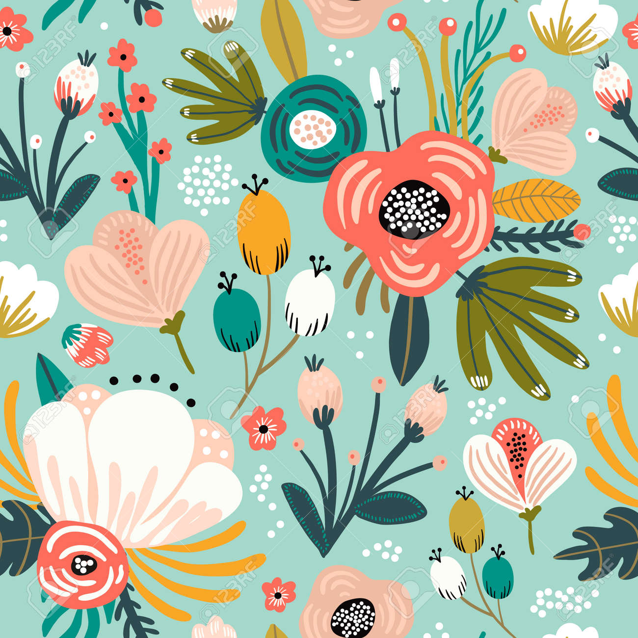 Seamless pattern with flowers,palm branch, leaves. Creative floral texture. Great for fabric, textile Vector Illustration - 114968096