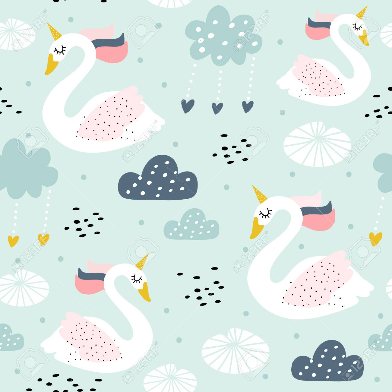 Seamless childish pattern with swan unicorn. Creative nursery texture. Perfect for kids design, fabric, wrapping, wallpaper, textile, apparel - 111672409