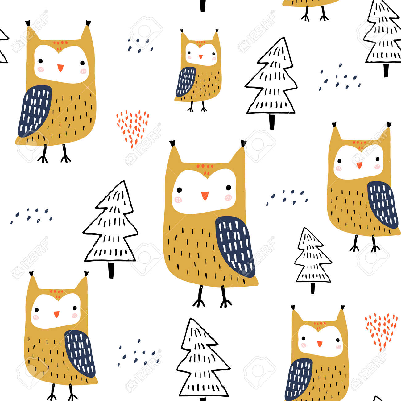 Seamless pattern with owls and trees. Creative woodland childish texture. Great for fabric, textile Vector Illustration - 110215332