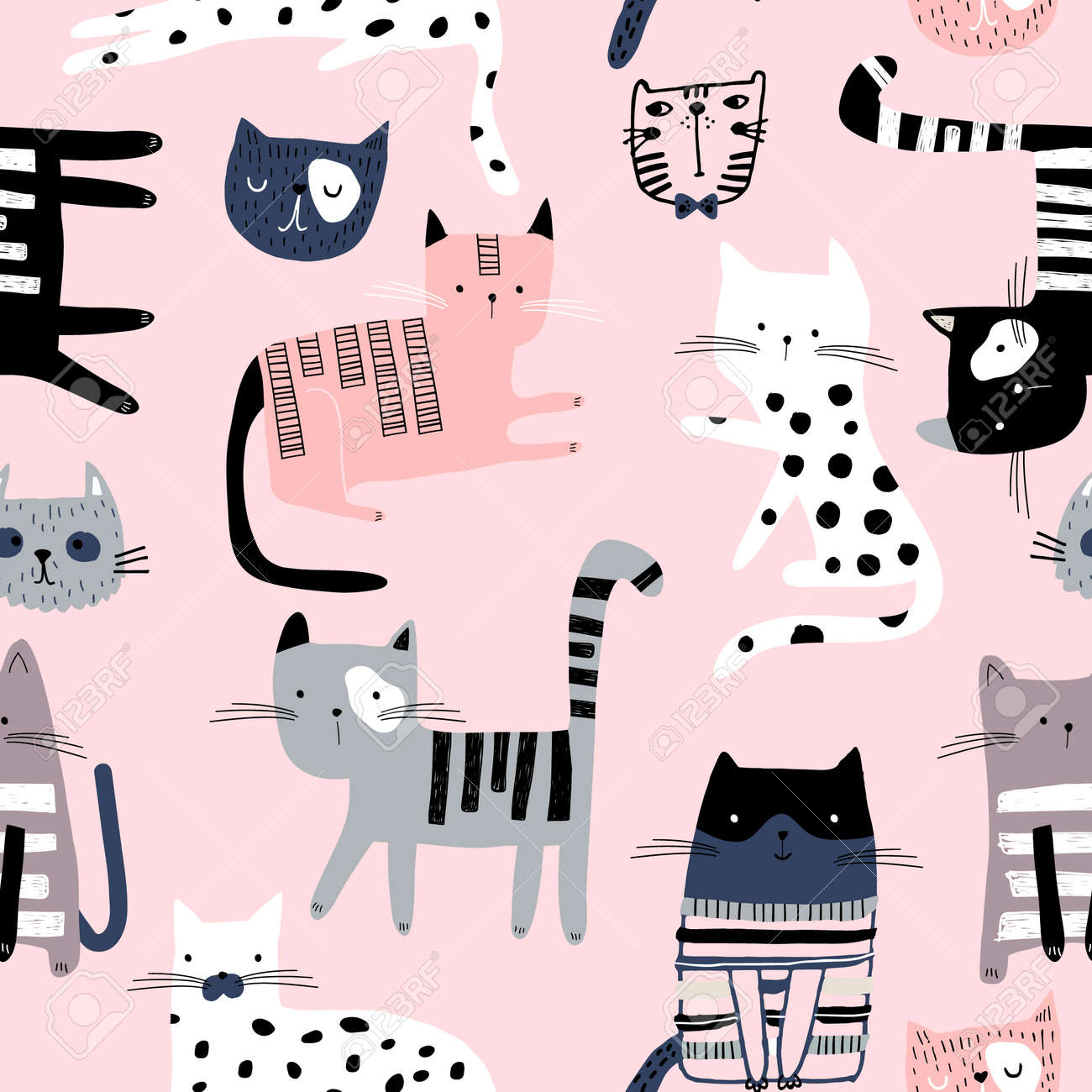Seamless pattern with cute colorful Kittens. Creative childish pink texture. Great for fabric, textile Vector Illustration - 117530902