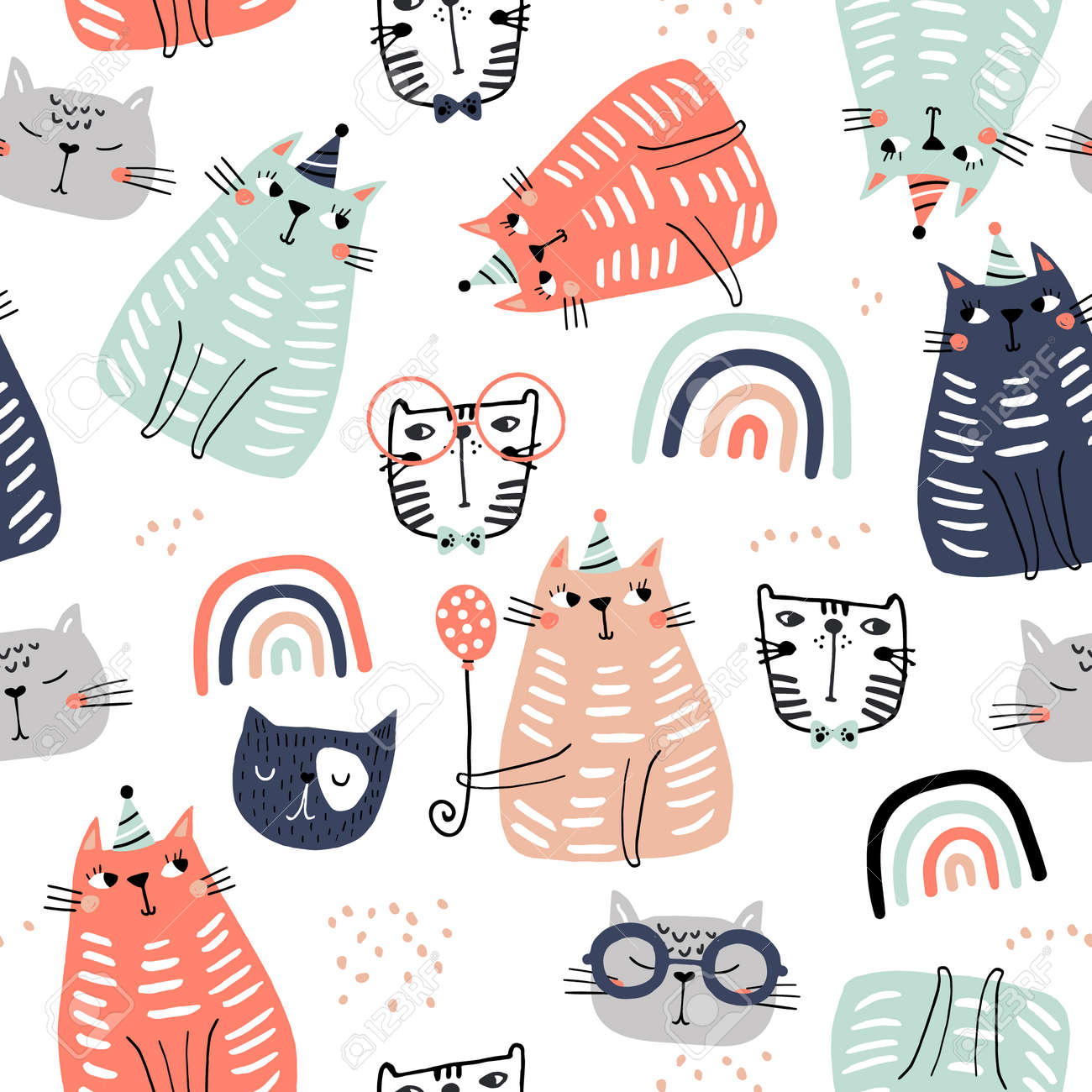 Seamless childish pattern with funny colorful cats and ranbows . Creative scandinavian kids texture for fabric, wrapping, textile, wallpaper, apparel. Vector illustration - 124935839