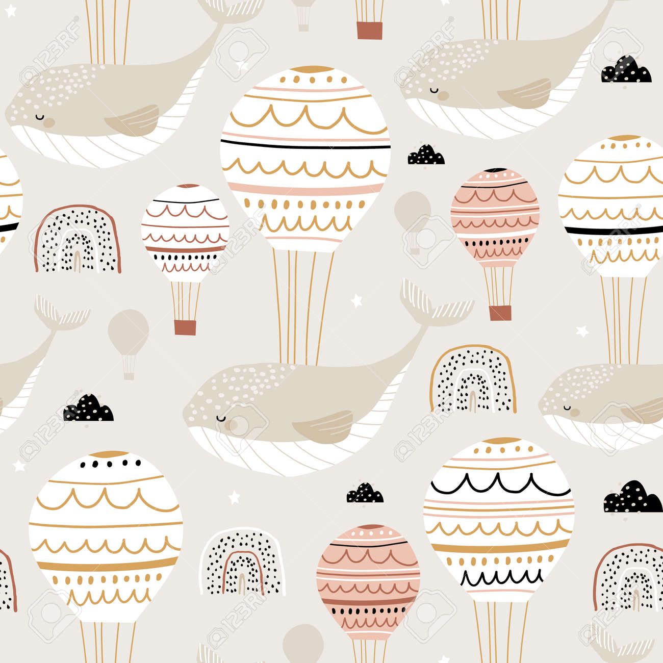 Seamless childish pattern with sleeping whales hot air balloons. Creative kids hand drawn texture for fabric, wrapping, textile, wallpaper, apparel. Vector illustration - 134080419