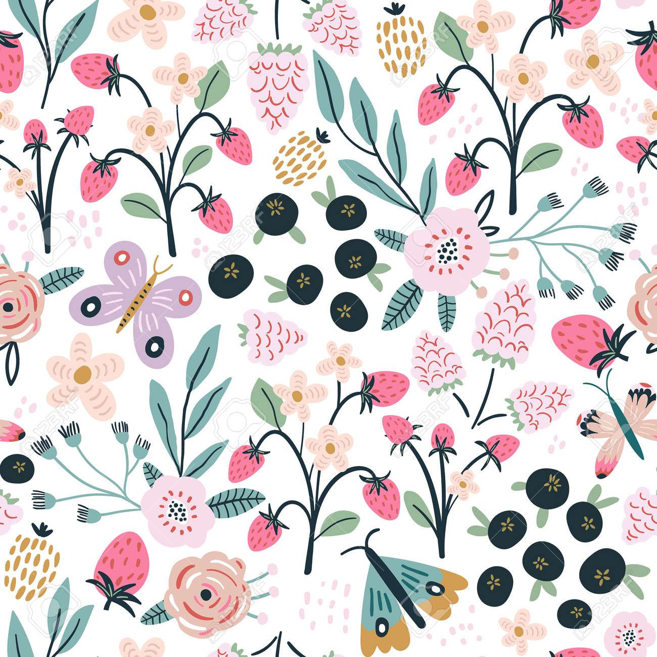 Seamless pattern with flowers, blueberry and leaves, rasberry, butterfly. Creative hight detailed floral texture. Great for fabric, textile Vector Illustration - 169707723