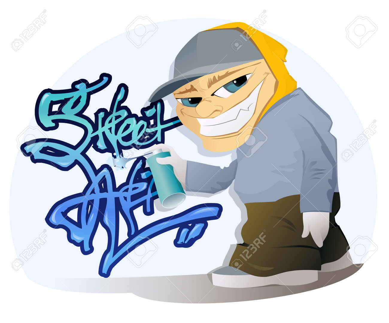 the vector illustration of the graffiti artist with spray can rh 123rf com graffiti clipart cartoon graffiti clipart free download