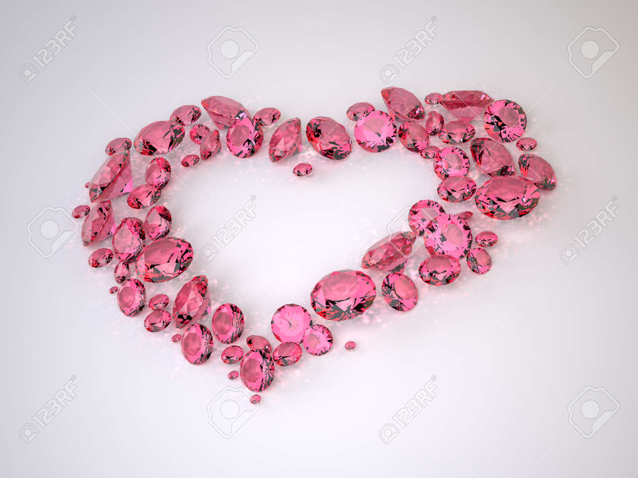 The Three-dimensional Diamonds located in Shape of Heart Stock Photo - 17472173