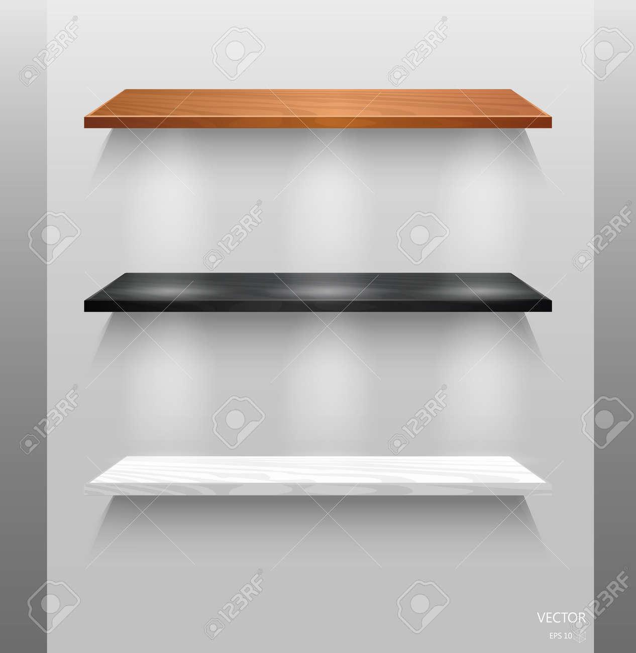 mur de des étagères bois Vecteur isolés vides fond en sur 8X0PnwNOk