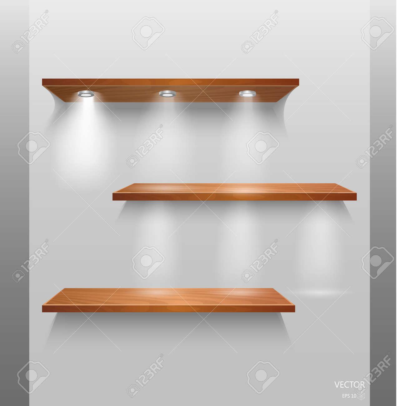 Houten Planken Aan De Muur.Vector Lege Houten Planken Geisoleerd Op Muur Achtergrond