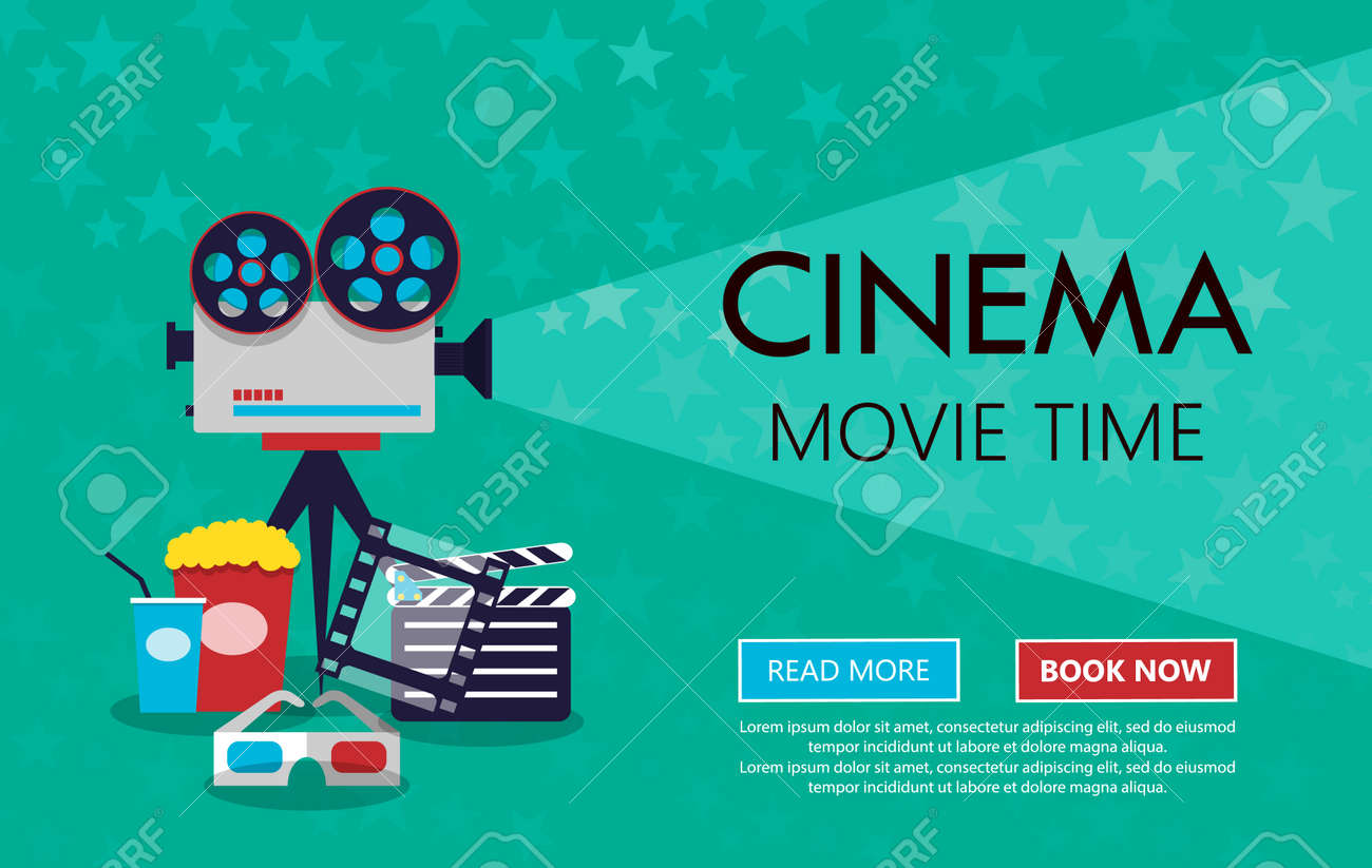 Movie Cinema Premiere Poster Design Vector Template Banner For Show With Seats Popcorn