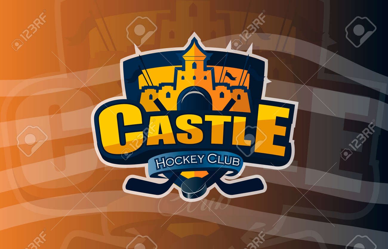 Hockey Icon Castle Logo Emblem Pattern Colorful Hockey Tournament