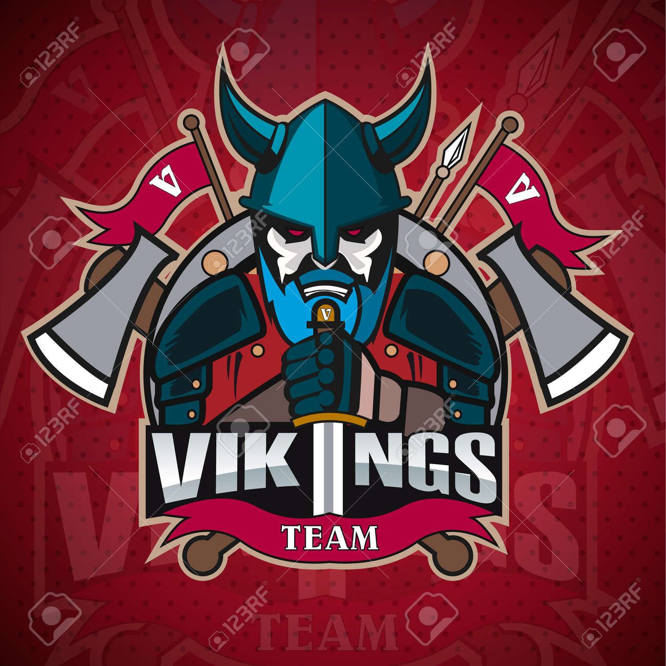 c0ff99a2 Vikings logo mascot for a team on a color background. Sport logo...