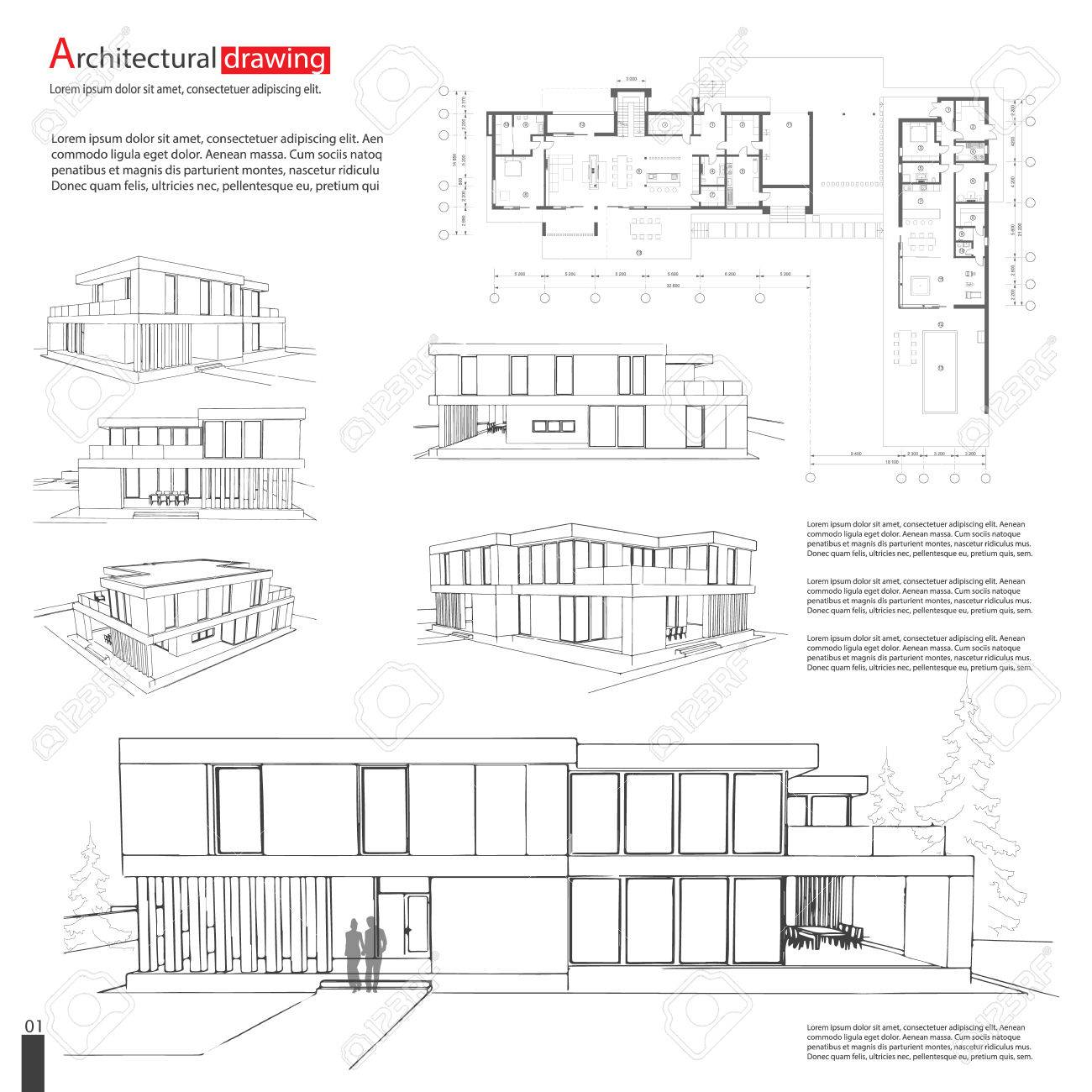 Blueprint drawing of 3d building architectural template royalty blueprint drawing of 3d building architectural template stock vector 74046524 malvernweather Images