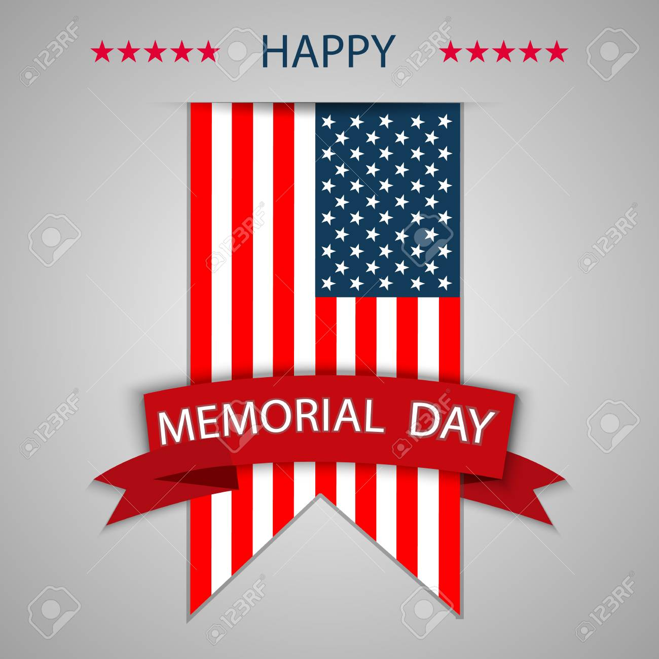 happy memorial day background template patriotic banner vector