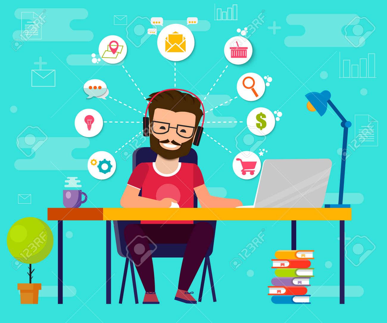 Man Working On Computer Work Desk Flat Cartoon Person Character