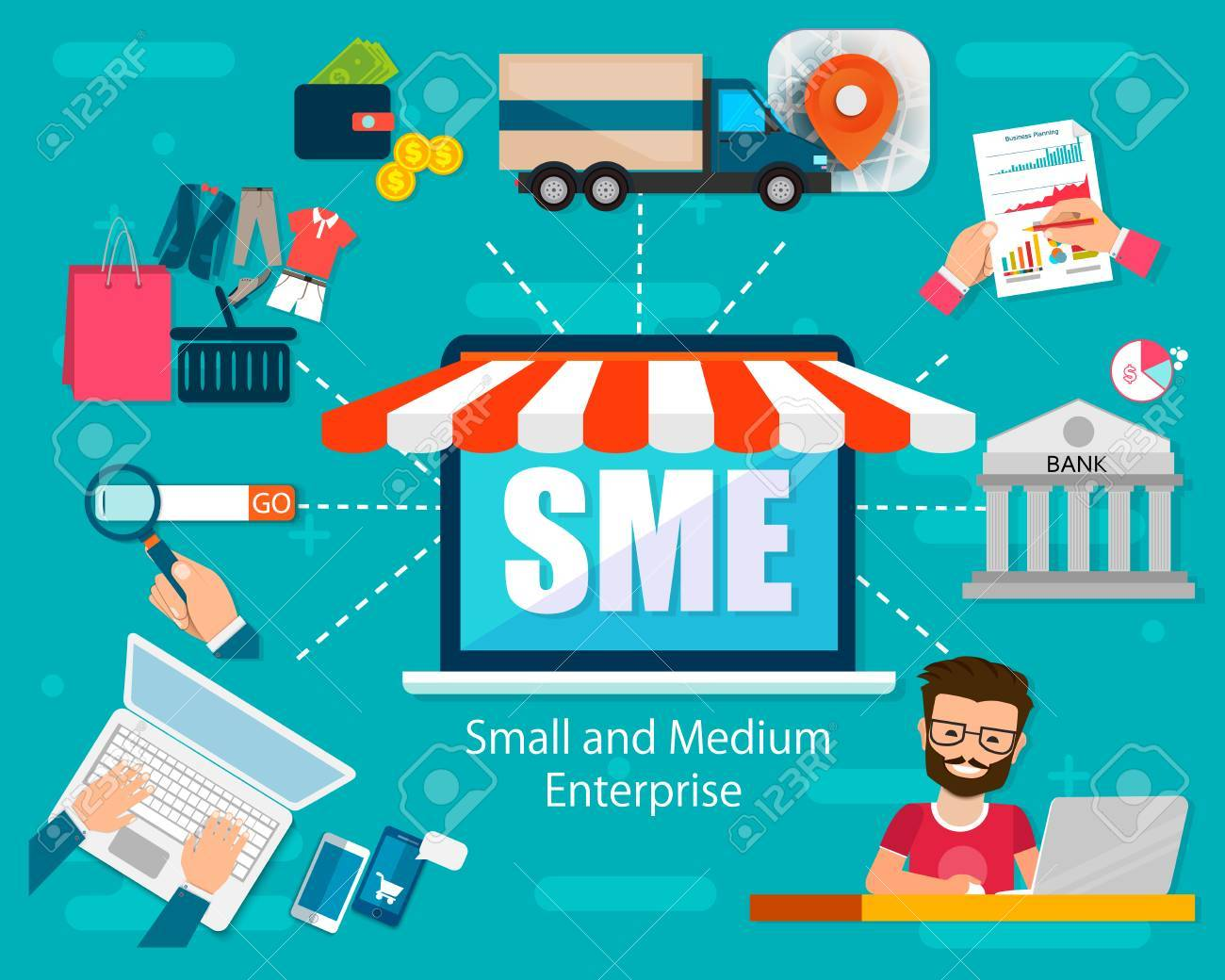 SME vector illustration, Small and Medium Enterprise, word lettering illustration in business concept. Design in modern style with related icons concept for web, app banner design. EPS10 - 86382501