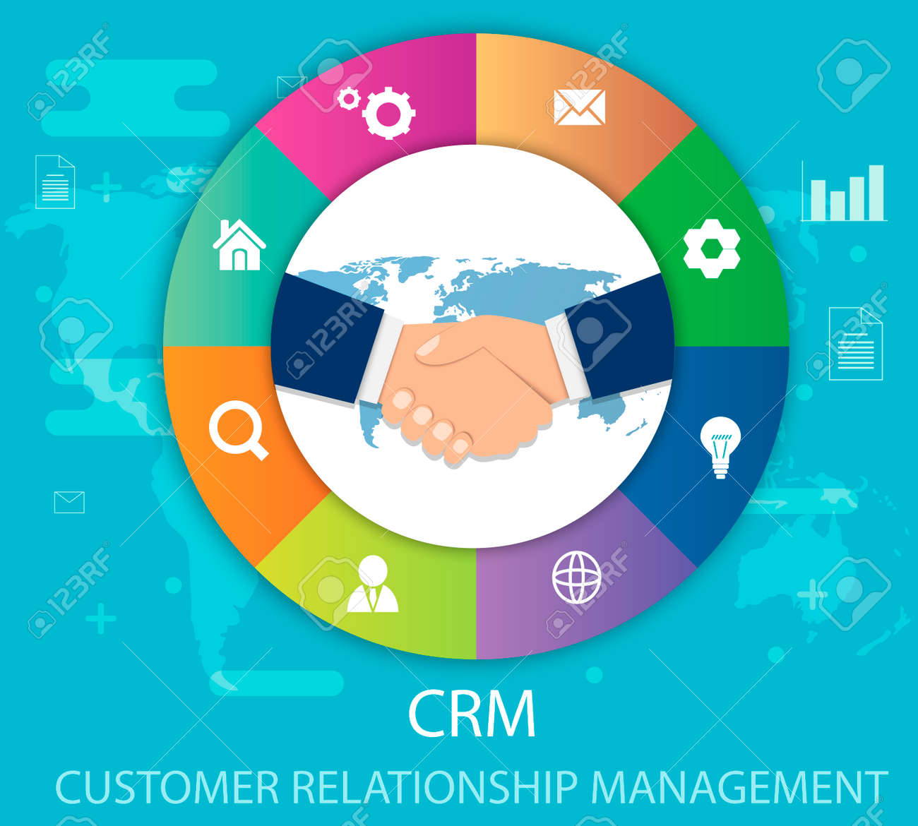 CRM Customer Relationship Management Flat Icons Of Accounting System Clients Support