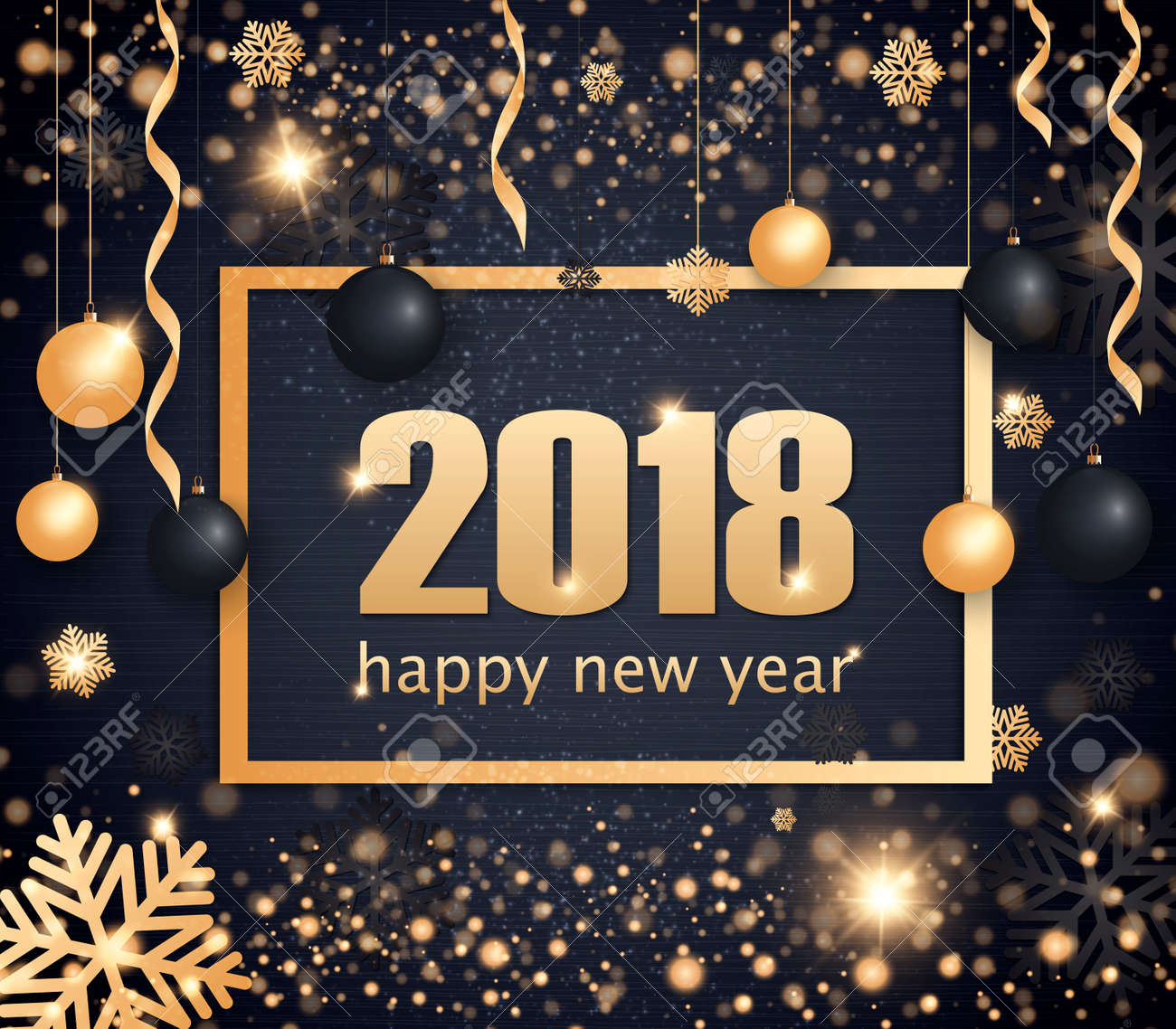Happy New Year 2018 gold and black color space for text Christmas balls, golden concerts and snowflakes. Golden bokeh, light and ribbons. Vector illustration - 87892061
