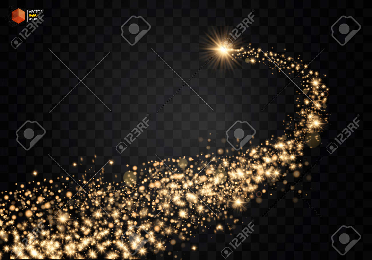 Cosmic glittering wave. Gold glittering stars dust trail sparkling particles on transparent background. Space comet tail. EPS 10 vector - 88856679