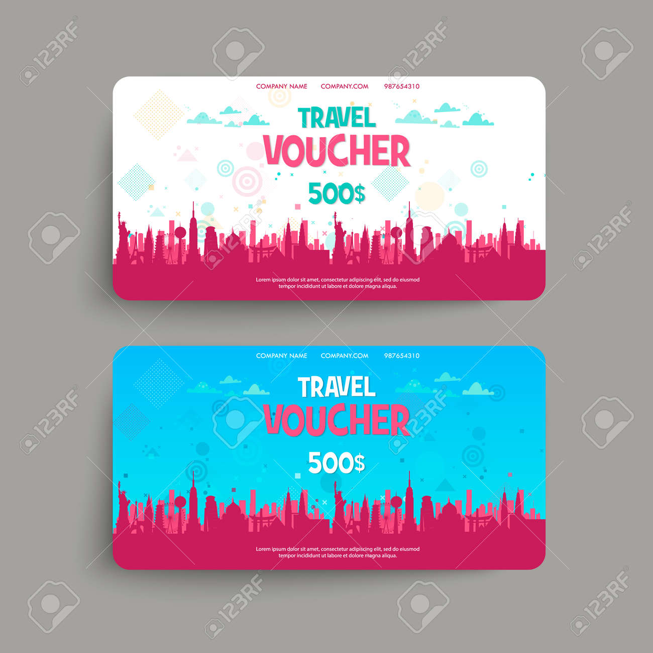 Vector Set Of Gift Travel Voucher Template For A Festive Gift