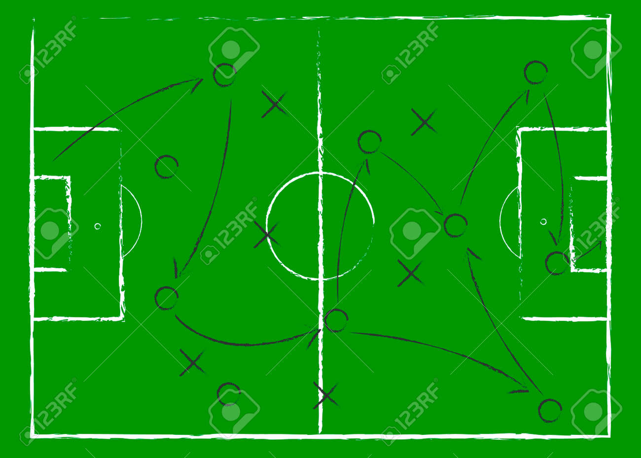 Soccer game tactical scheme. The scheme of the game. Strategy. Tactics. On the chalkboard. For your design. Vector chalk graphic on black board - 153586575