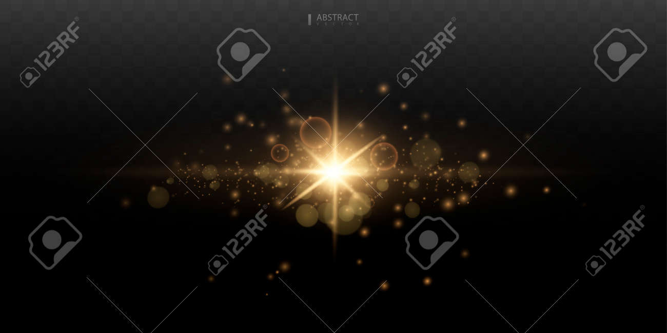 Set. Shining star, the sun particles and sparks with a highlight effect, golden bokeh lights glitter and sequins. On a dark background transparent. - 165959847