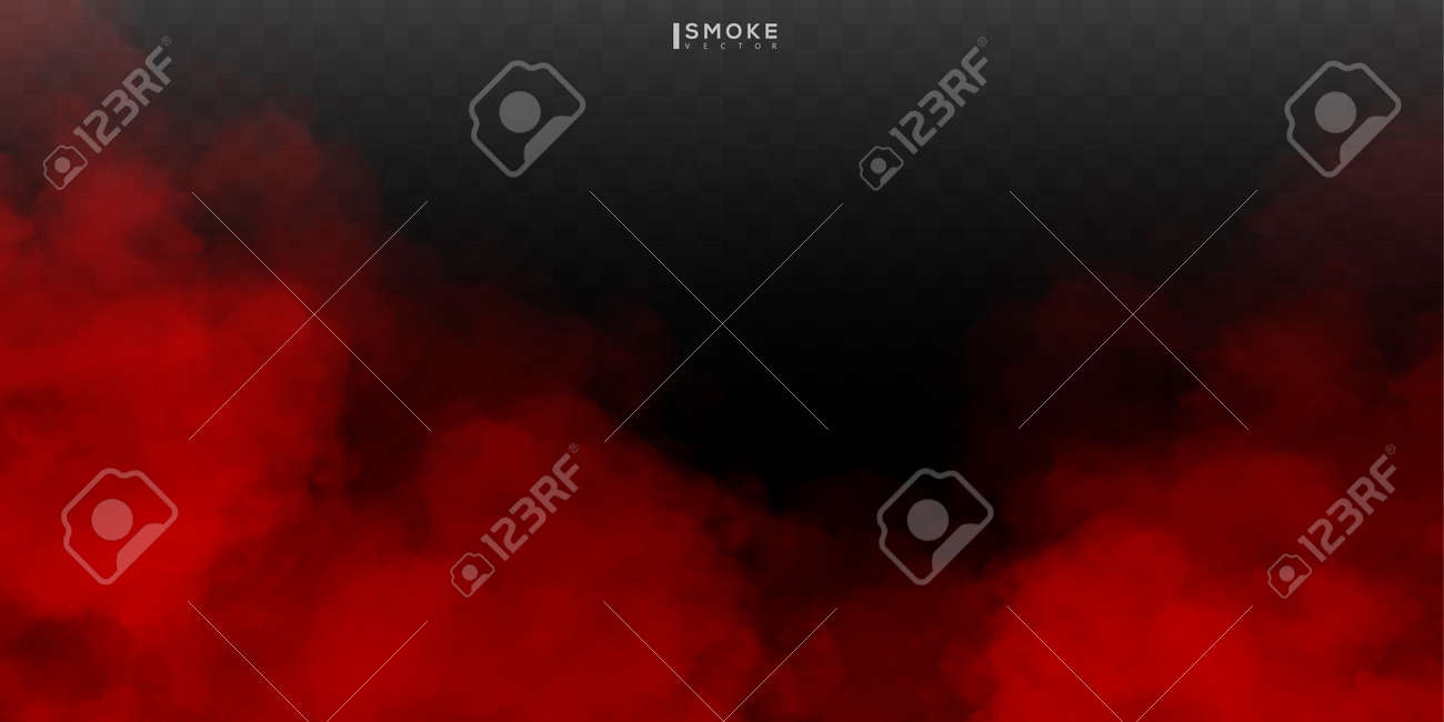 Fog or smoke isolated special effect on transparent background. Red vector cloudiness, mist or smog background. - 170151213