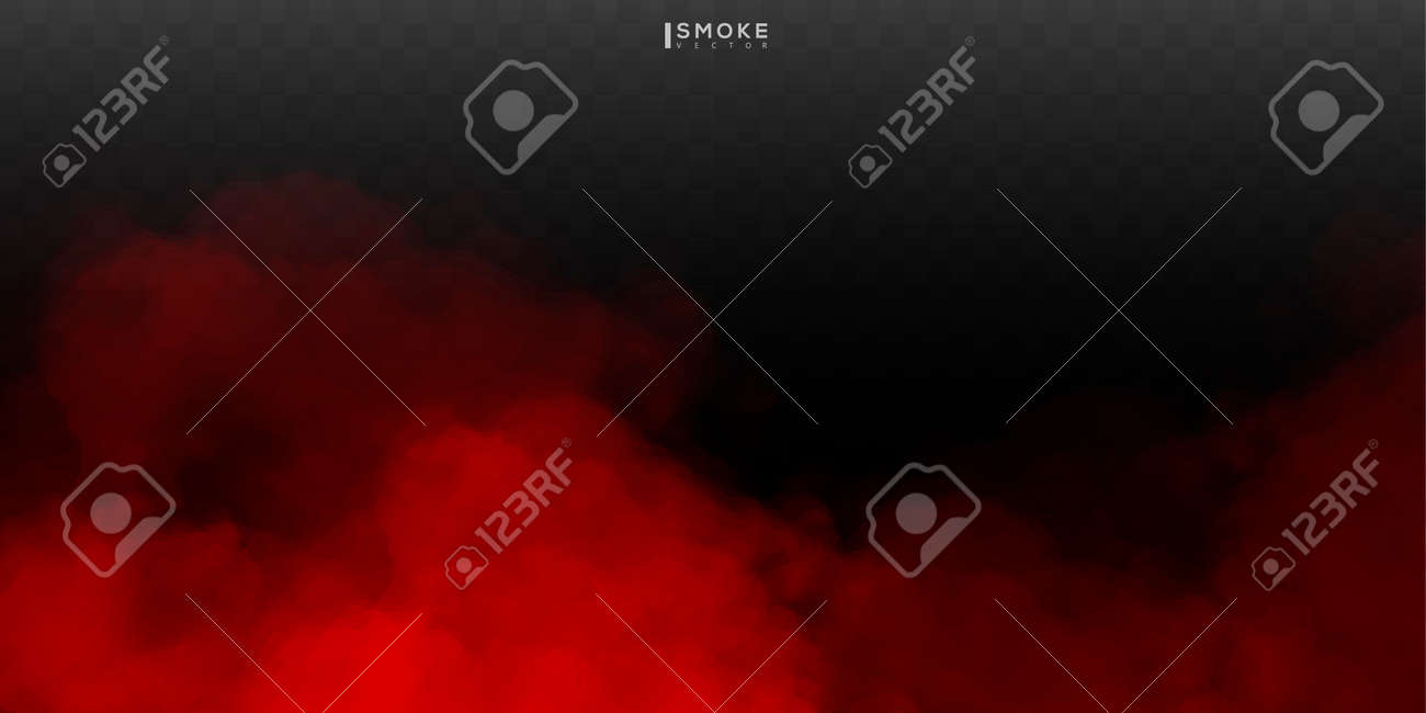 Fog or smoke isolated special effect on transparent background. Red vector cloudiness, mist or smog background. - 170151229