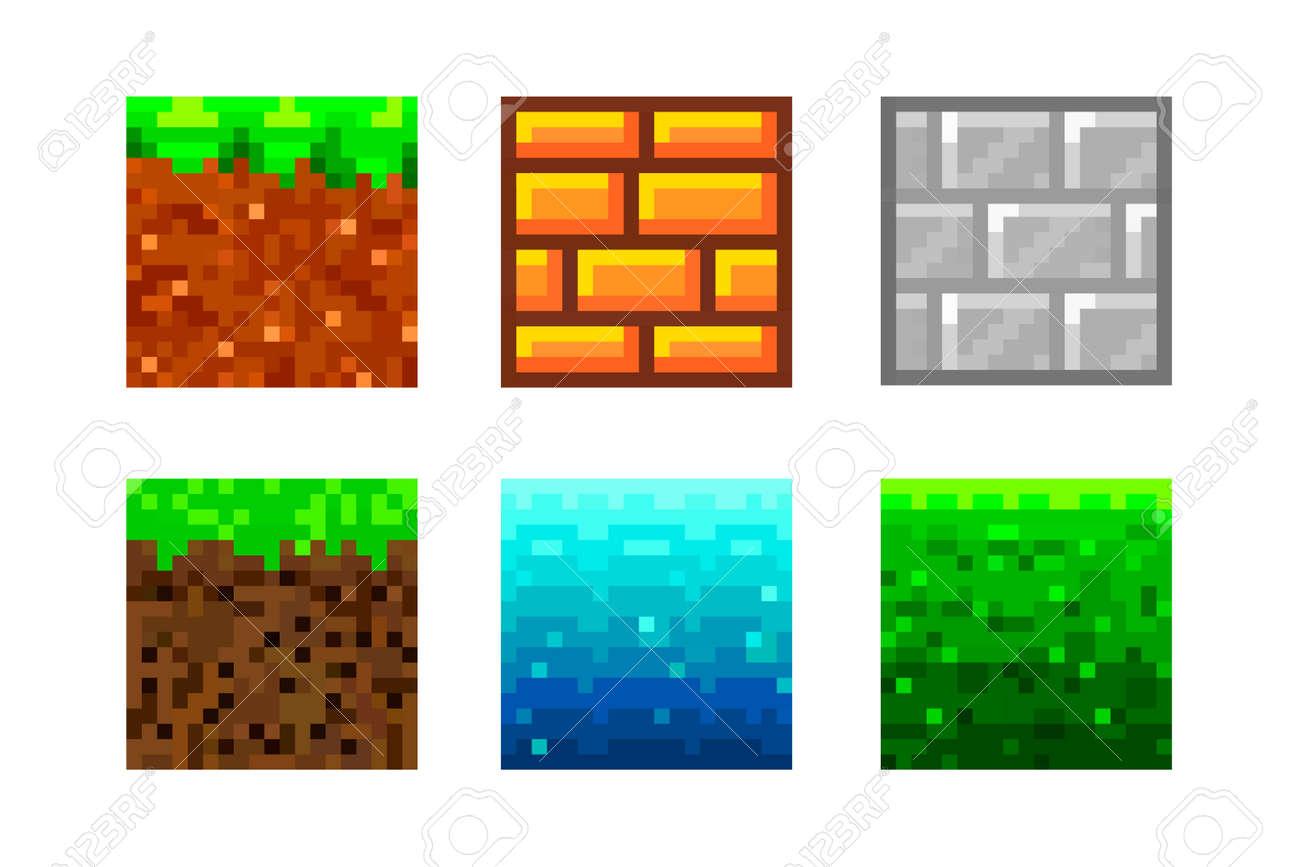 Pixel Art Icons. 2D Textures for 8-bit games. Set of vector pixel textures. Objects for a pixel game. The concept of games background. Vector illustration - 171193763