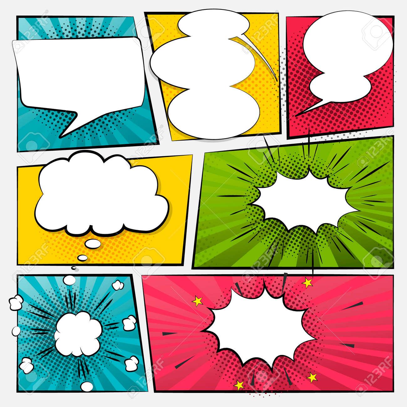 Comic cartoon sound bubble speech. Set comic speech bubble for text. Vector comic - 172194563