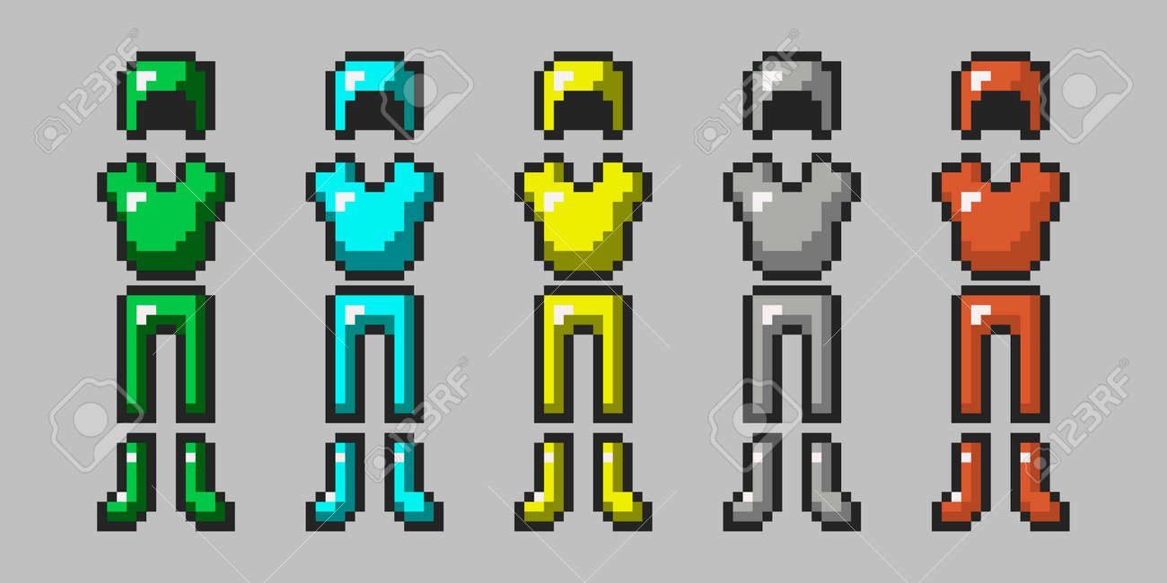 Big set of pixel armor isolated on gray background. Emerald, diamond, gold, iron, leather armor. The 8-bit style protection is drawn in a flat style. Pixel game objects. Vector illustration - 172298291