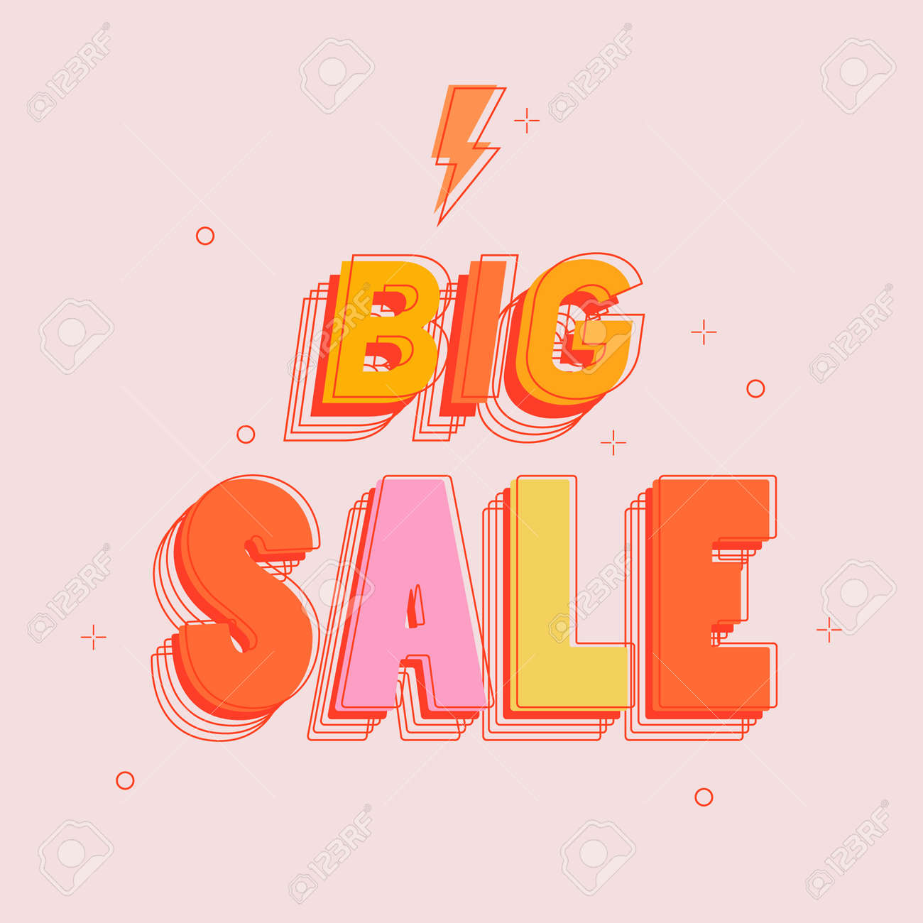 Big Sale and special offer. Special offer. Discount on the product. Trendy geometric figures wallpaper in a modern material design style. Colored banner. Vector illustration - 172746201