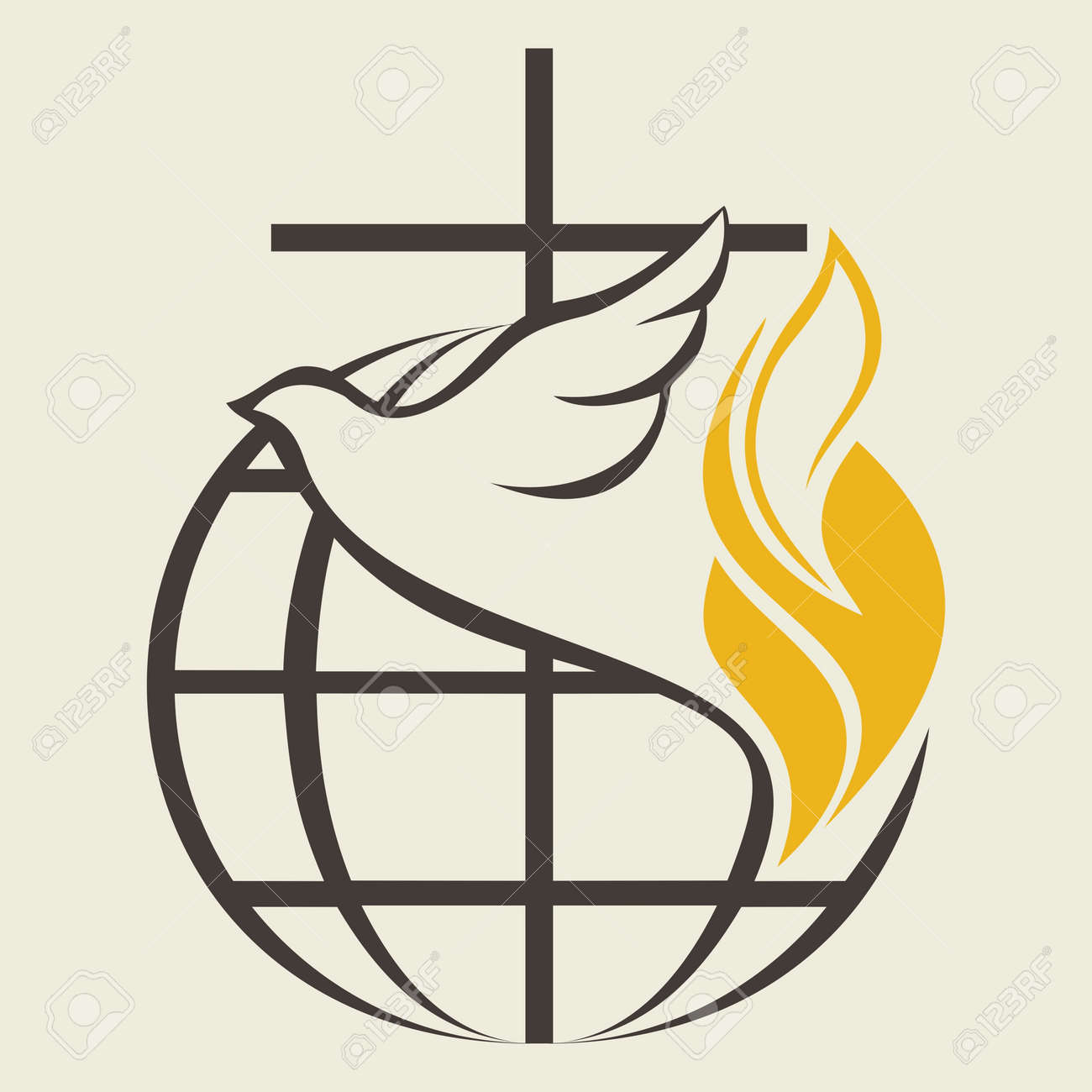 Church logo globe holy spirit dove cross flame pentecost church logo globe holy spirit dove cross flame pentecost stock altavistaventures Images