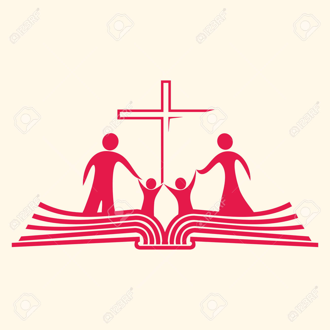 family standing on pages of a bible and cross icon royalty free