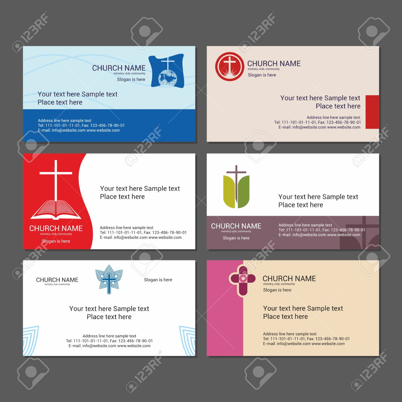 set christian business cards for the church the ministry the