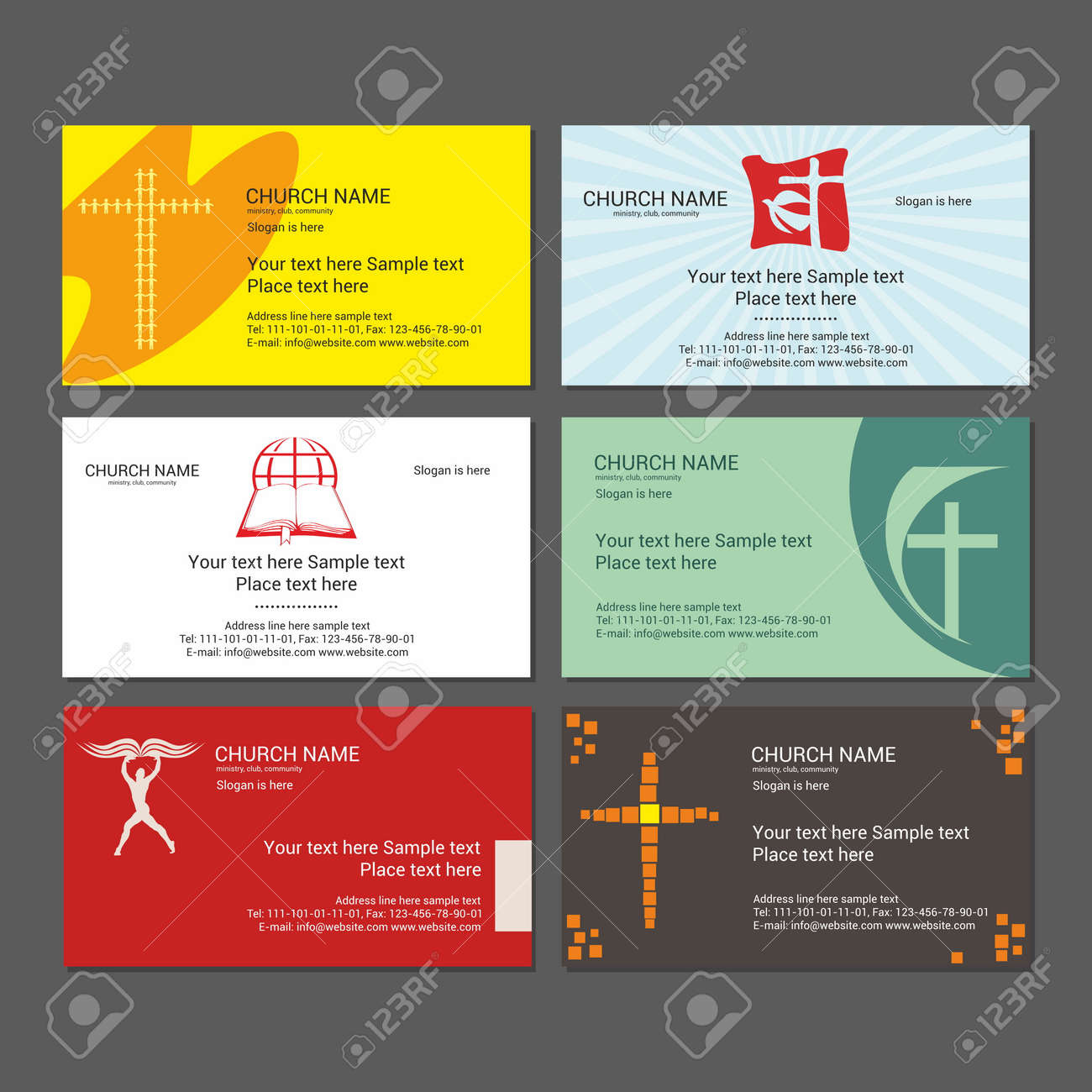Set Christian Business Cards. For The Church, The Ministry, The ...