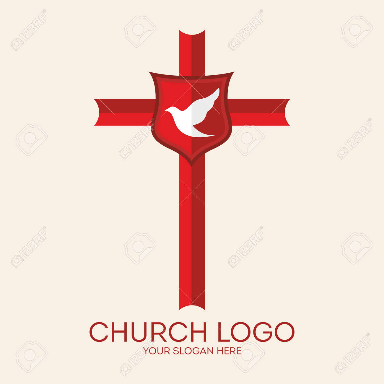Church logo dove cross red shield icon christian royalty free church logo dove cross red shield icon christian stock vector altavistaventures Images