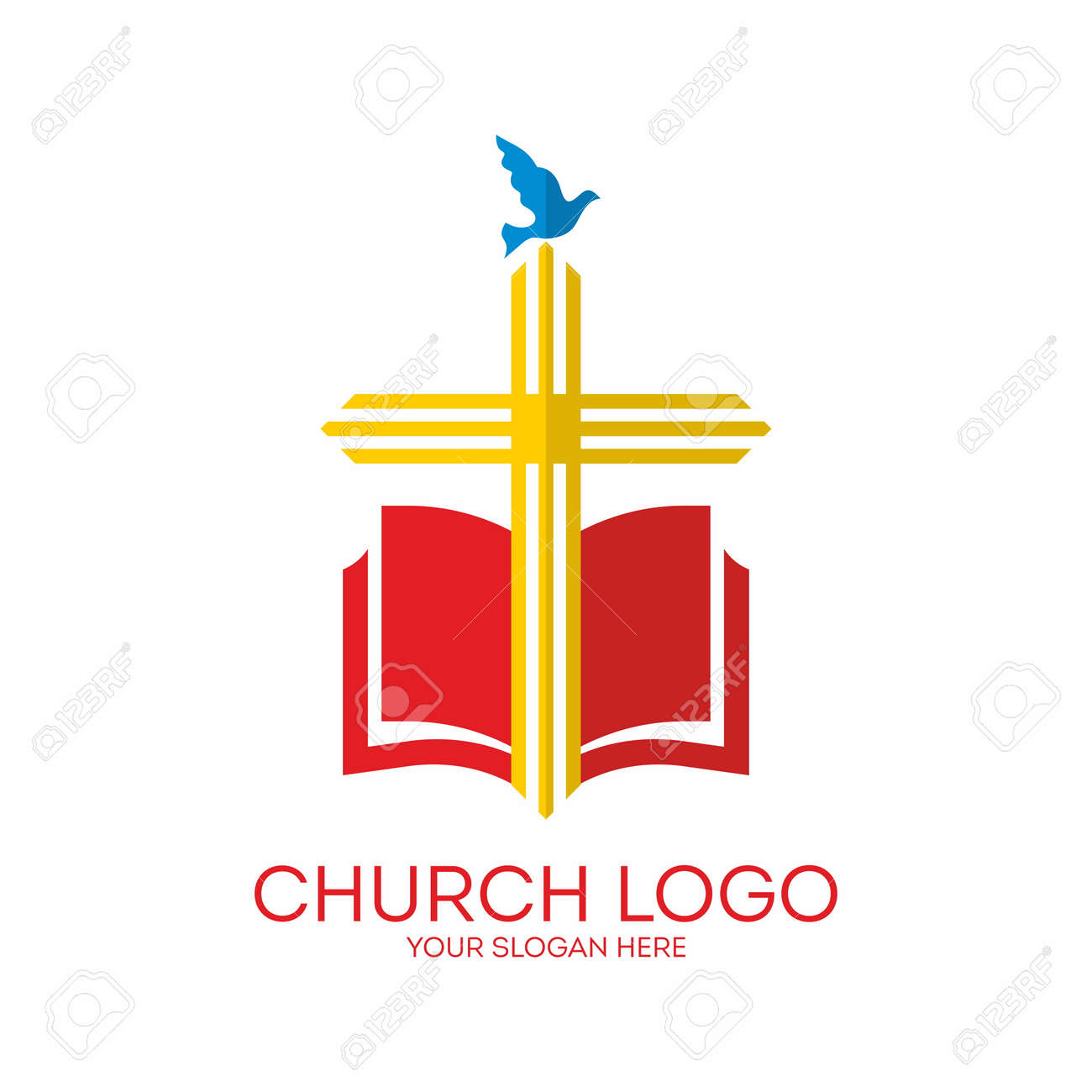 Church logo cross bible dove icon red yellow blue royalty church logo cross bible dove icon red yellow blue altavistaventures Choice Image