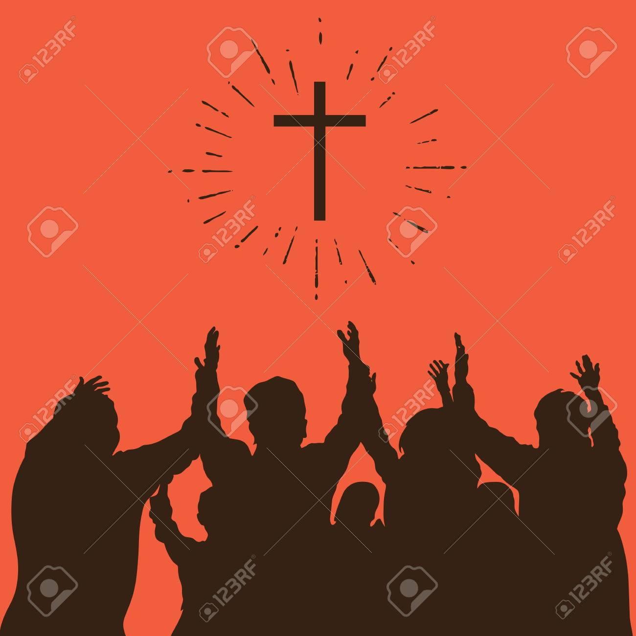 Group worship, raised hands, cross, worship, silhouettes, praise - 46671749