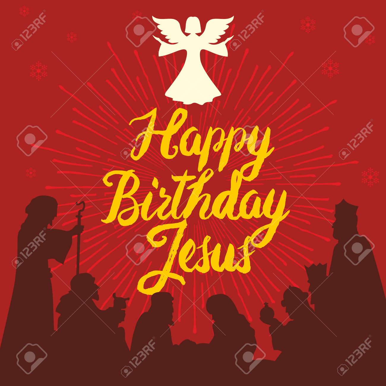 Happy Birthday Jesus. Merry Christmas Royalty Free Cliparts, Vectors ...
