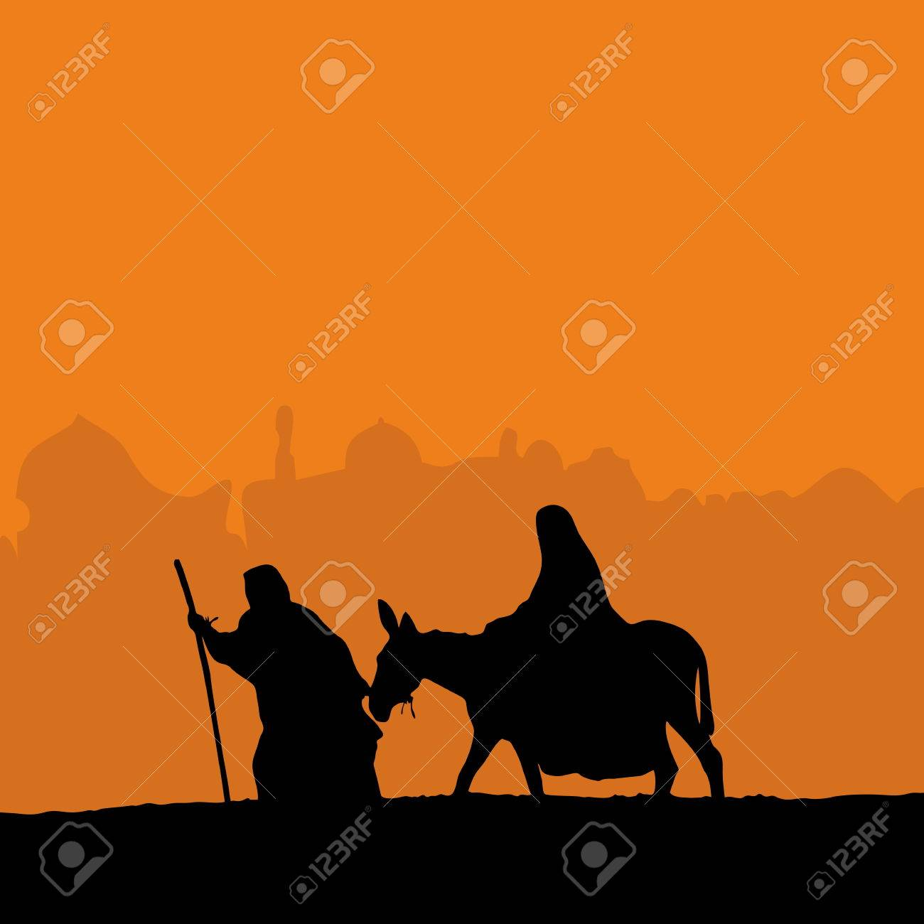 Joseph leading Mary on a donkey - 46672122