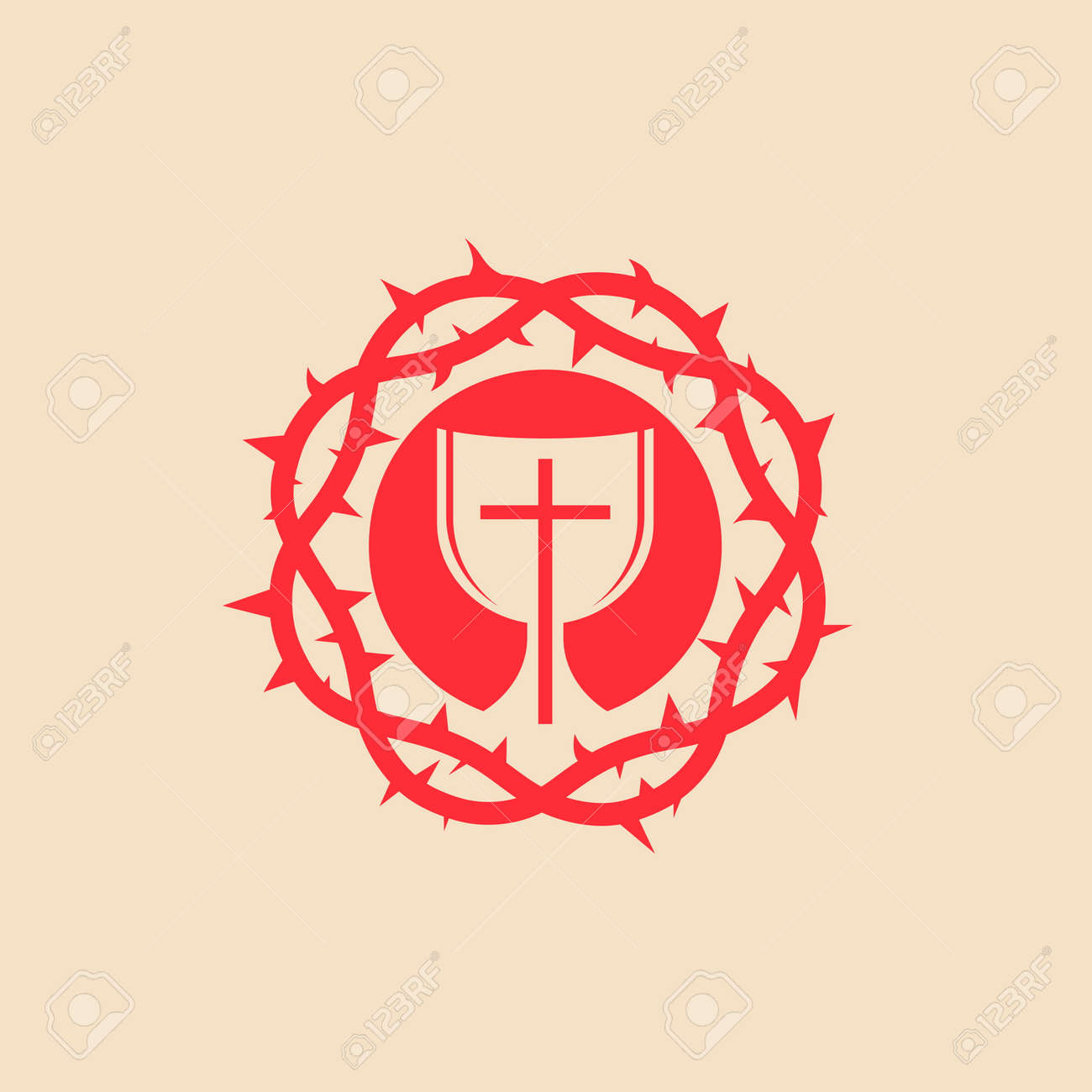 Communion Crown Of Thorns Cross Red Icon Royalty Free Cliparts