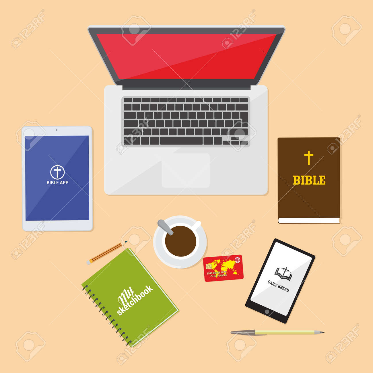 Bible study, desk, sketchbook, journal, , tablet, coffee, mug,