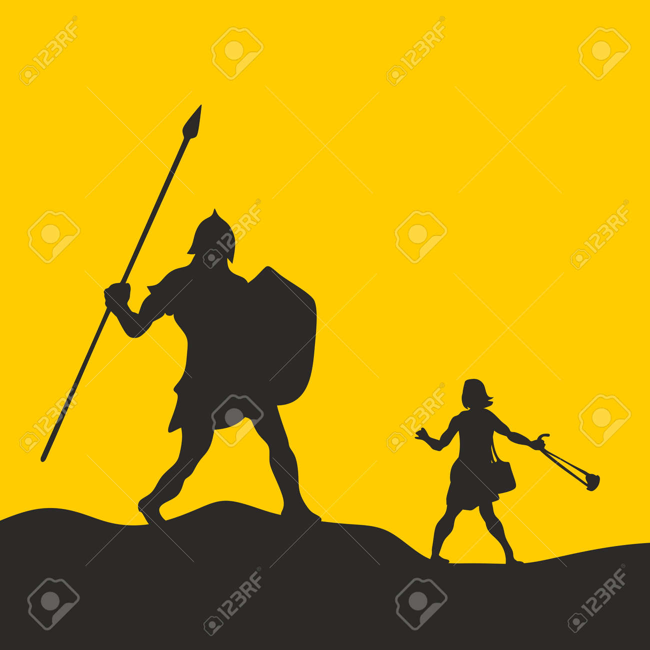 david and goliath silhouette hand drawn royalty free cliparts