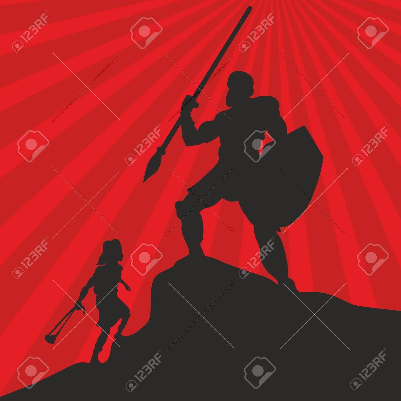 David and Goliath. Silhouette, hand drawn - 46944520