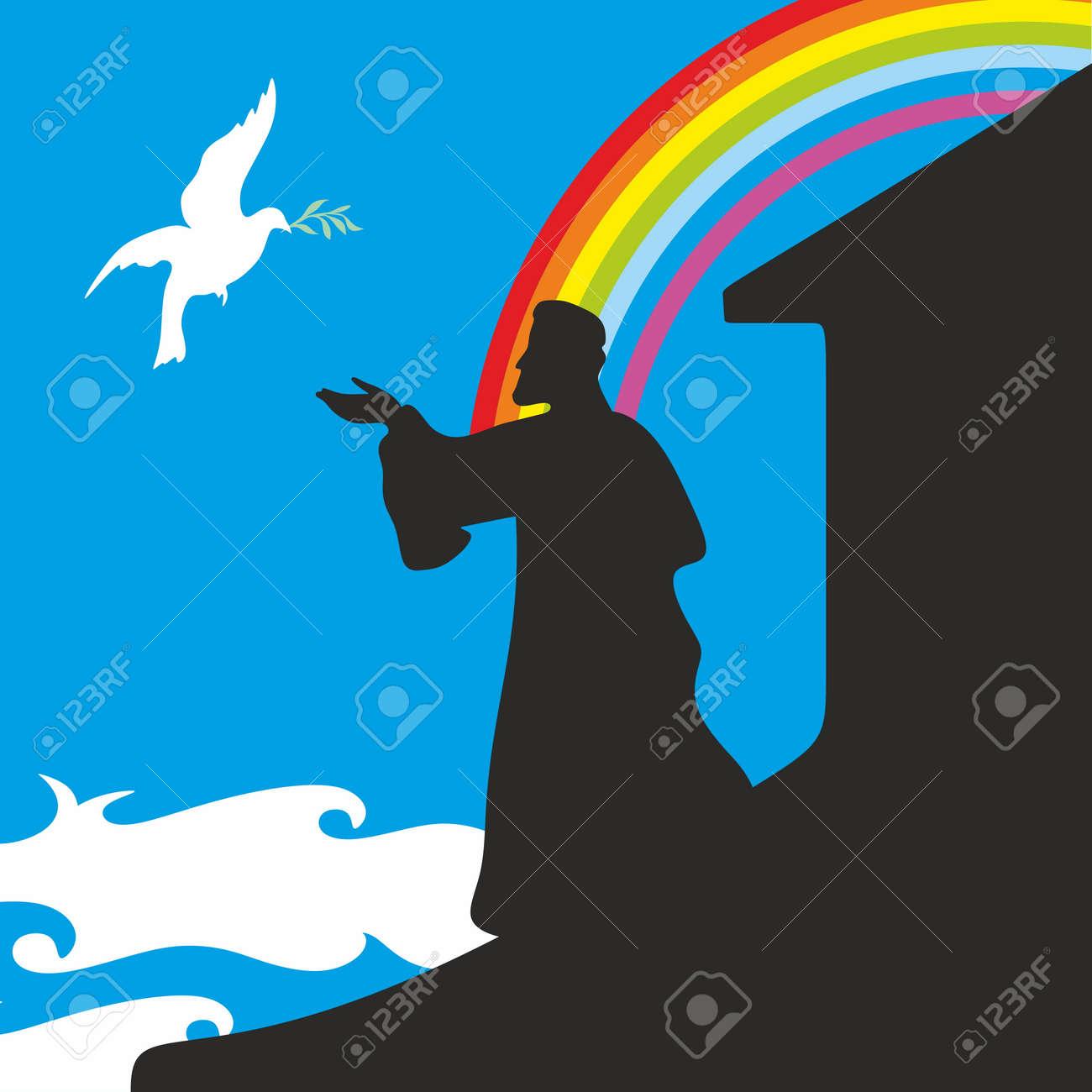 Noahs Ark And Rainbow Silhouette Hand Drawn Stock Vector