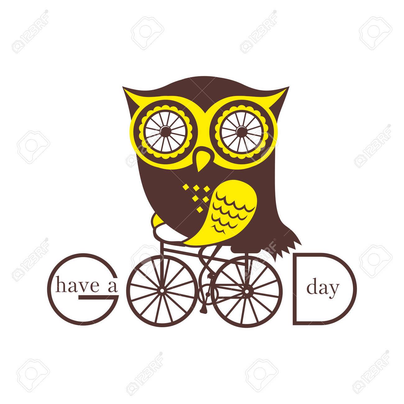 Búho En Una Bicicleta Ilustraciones Vectoriales, Clip Art ...